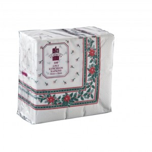 Caprice Lunch Napkin 2 Ply - 320mm x 320mm Printed Christmas Design